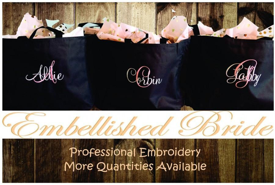 Wedding - Personalized Tote Bags Set of 10 Embroidered Tote Bags Bridal Party Bridesmaid Gift