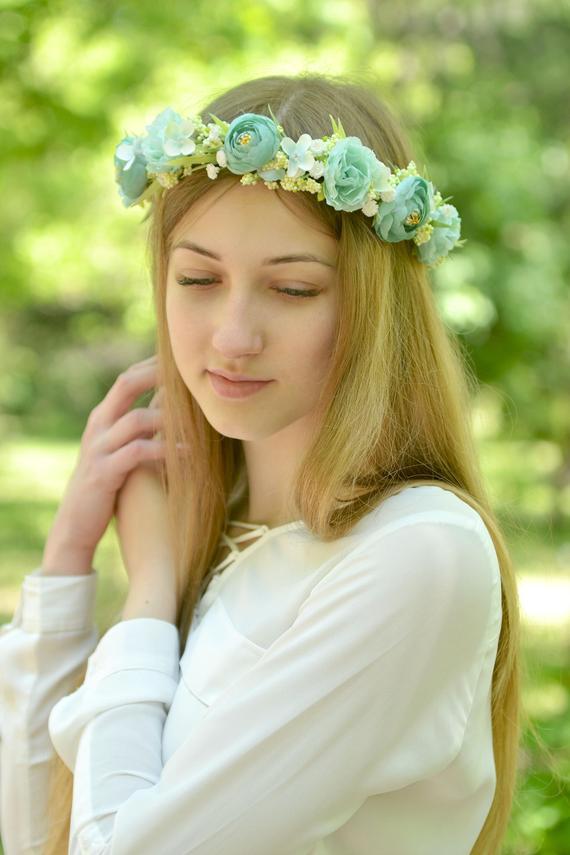 Wedding - Flower girl headband Mint floral crown bridal Mint head wreath flowers wedding accessories hair floral crown