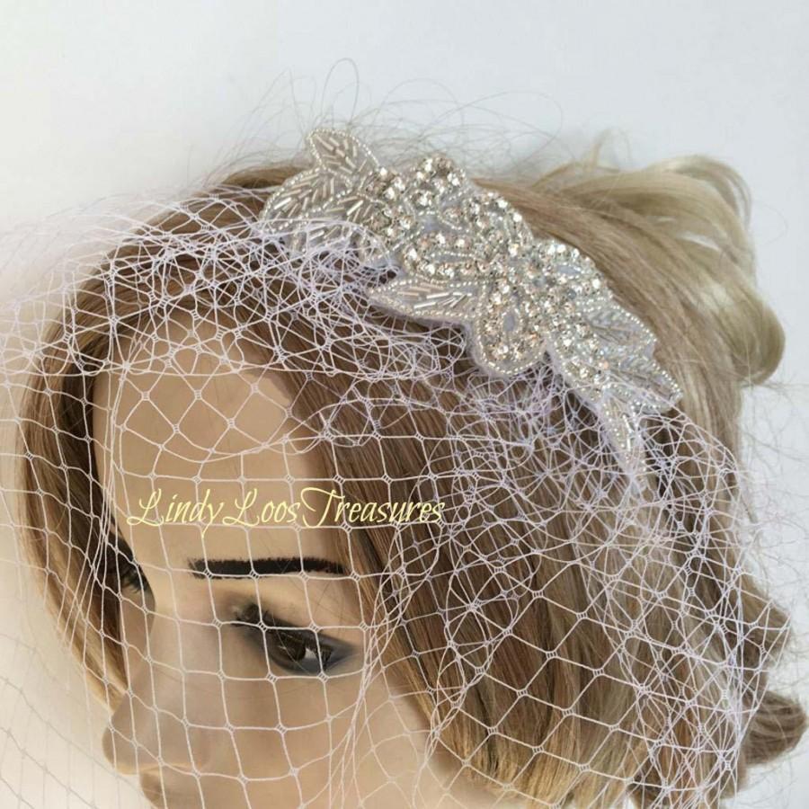 Mariage - Rhinestone and Beaded Birdcage Fascinator, Birdcage Fascinator, Bridal Fascinator, Beaded Wedding Fascinator, Bridal Head Piece