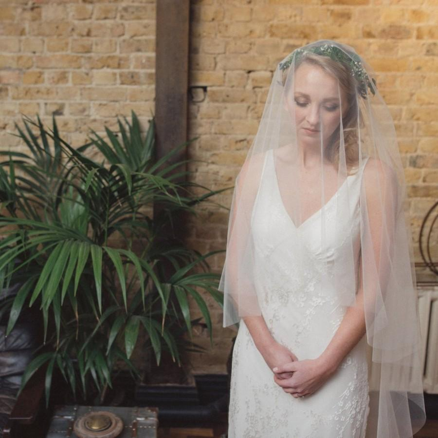 زفاف - Wedding veil, two tier veil, blusher veil, simple veil, champagne veil, blush veil, pink veil, 2 tier veil, Pippa Middleton veil - 'ALICIA'