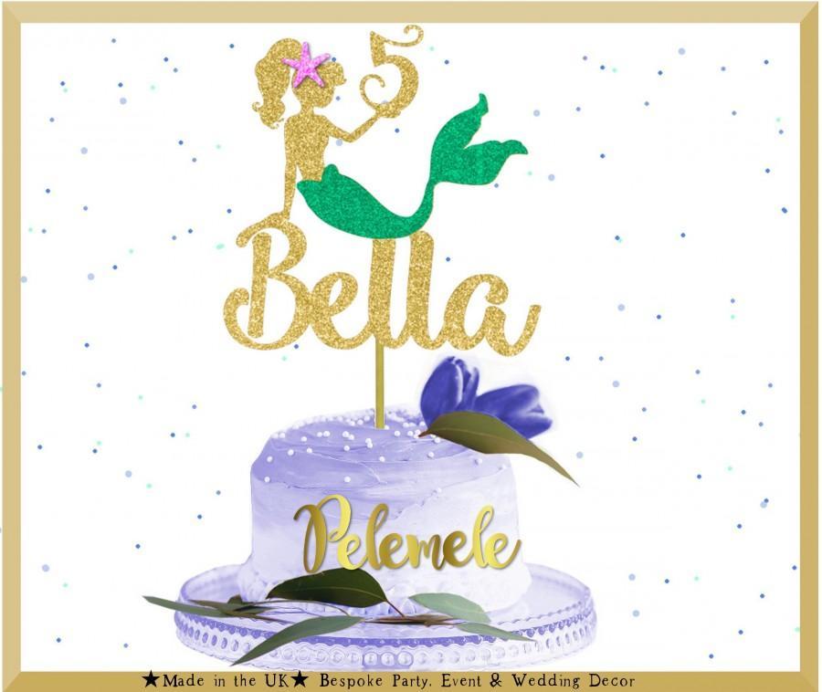 Wedding - Personalised Mermaid Cake Topper - Custom Cake Topper, Mermaid Glitter Cake Topper, Mermaid Topper, Mermaid Theme, Mermaid Party Decor