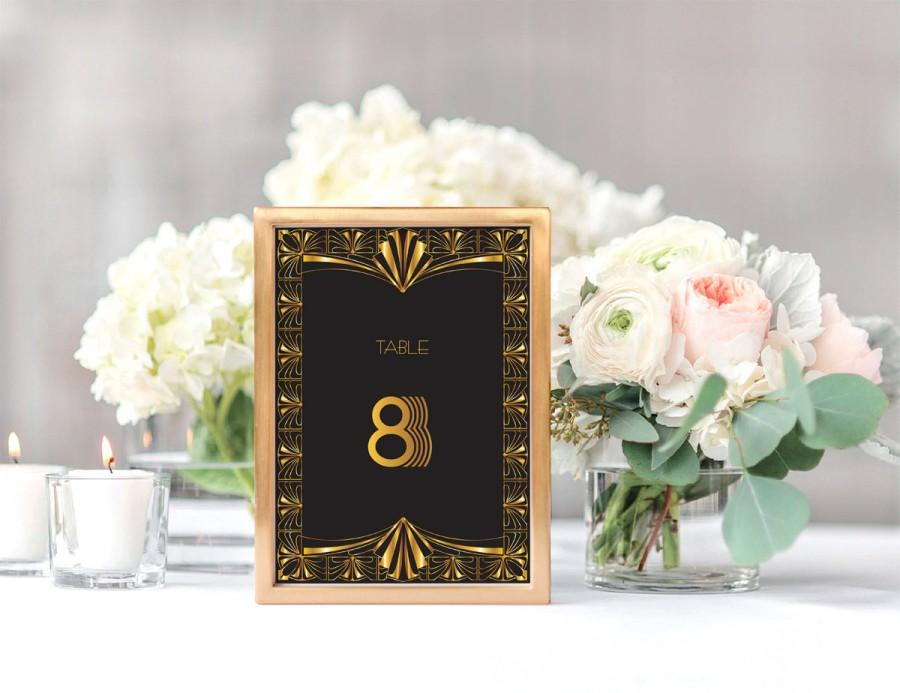 Gorgeous Gatsby Printable Art Deco Table Numbers Instant