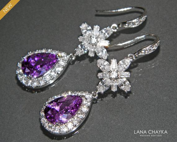 Свадьба - Amethyst Crystal Earrings, Wedding Purple Teardrop Earrings, Amethyst Chandelier Cubic Zirconia Earrings Bridal Purple Silver Dangle Earring