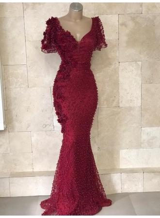 Hochzeit - Festliche Kleider Abendkleid Weinrot