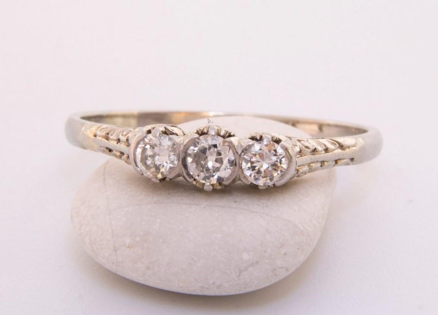 Hochzeit - Fleur De Lys diamond engagement ring, Antique French diamond engagement ring 18k white gold, Antique diamond engagement ring, Art Deco ring