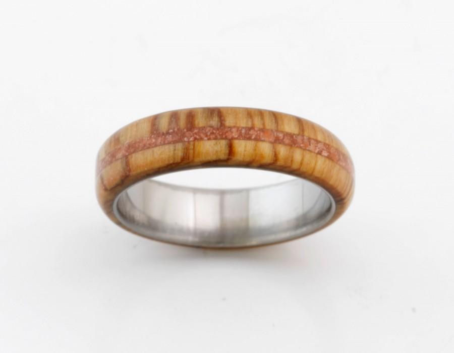 Hochzeit - titanium wood ring olive wood wedding band coral lined wedding ring mens wedding band olive band dome profile band