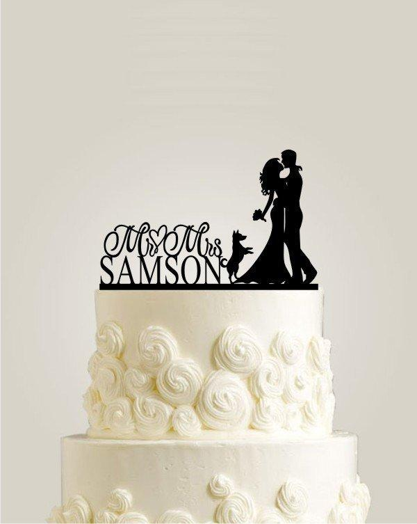 Свадьба - Wedding Cake Topper with Dog, Custom Personalized Wedding Cake Topper for Wedding, Rustic Cake Topper