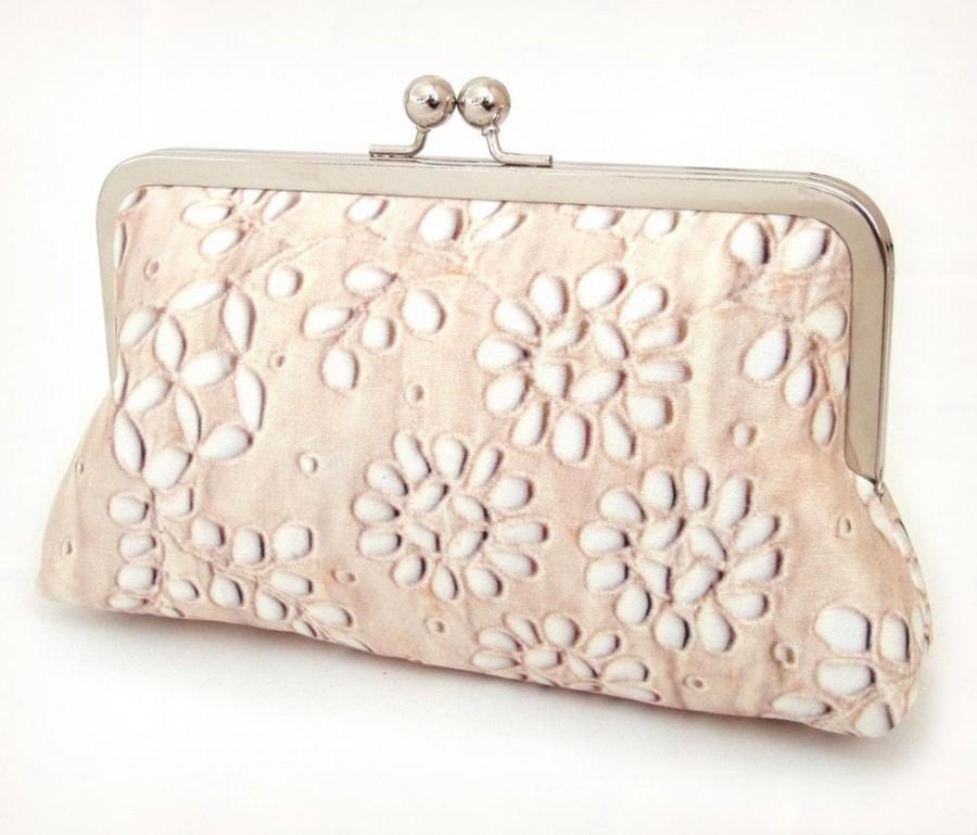 Hochzeit - Clutch bag, silk purse, wedding accessory, beige cream, bridesmaid, PALE LACE PETALS