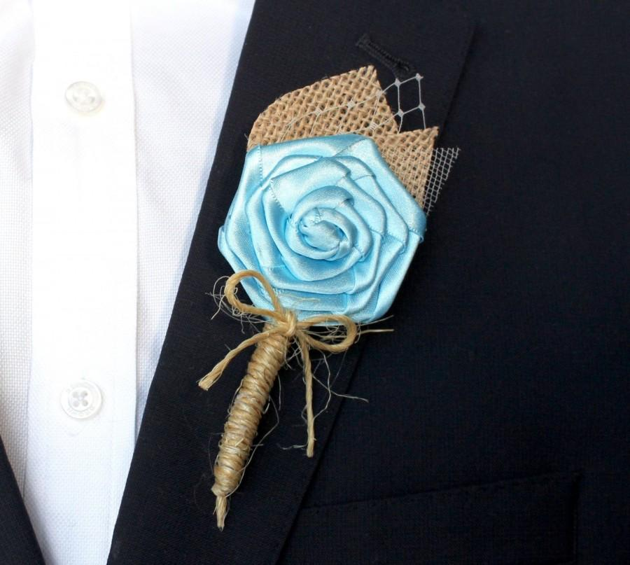 Wedding - Turquoise Wedding Boutonniere , Burlap Wedding Boutonniere , Rustic Turquoise Boutonniere
