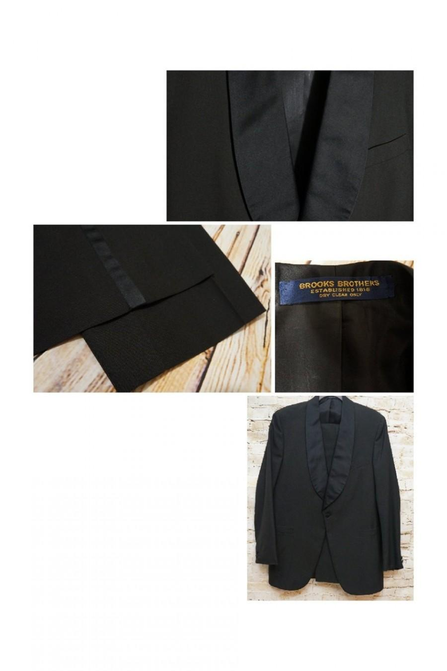 Wedding - Vintage Elegant Brooks Brothers Shawl Collar Black Full Tuxedo Suit 40L Coat Jacket and Pants