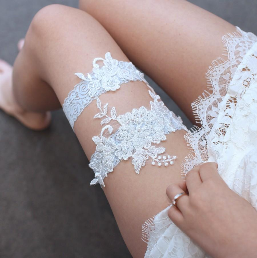 Hochzeit - Lace garter set, bridal garter set, wedding garter set, garter set, blue lace garter set, garter for wedding