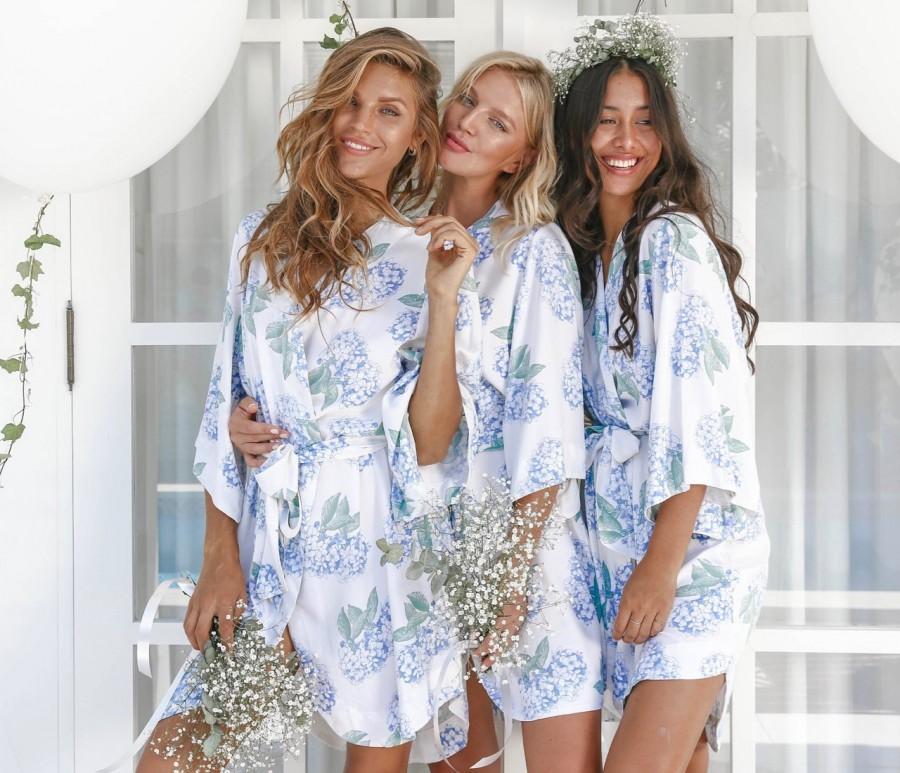 Wedding - Bridesmaid Robes, Bespoke Kimono Robe, Hydrangea Blue, Code: P053 (B)