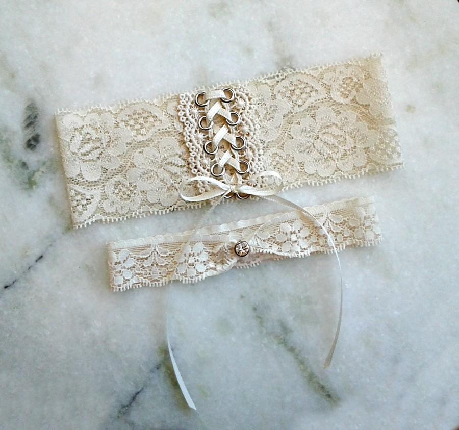 Ivory Lace Wedding Garter Set Silver Corset Garters Ivory Bride