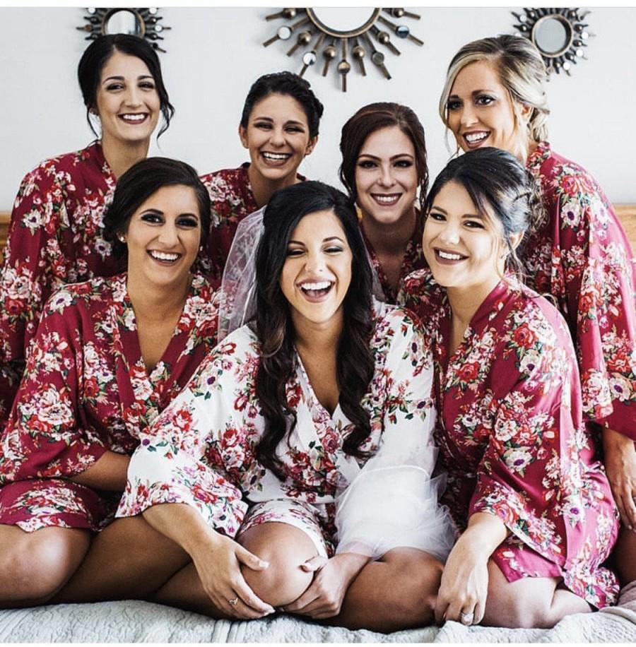 Hochzeit - Cotton Bridesmaid Robes - 15 Colors - Bridesmaid Gift -Wedding Gift - Wedding Floral Robes - Bridal Robes -Kimono*DISCOUNT for multi order