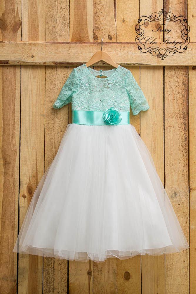 Свадьба - Mint green flower girl dress wedding girl tutu tulle mint green flowergirl dresses tulle princess dress toddler girl tutu dress white junior