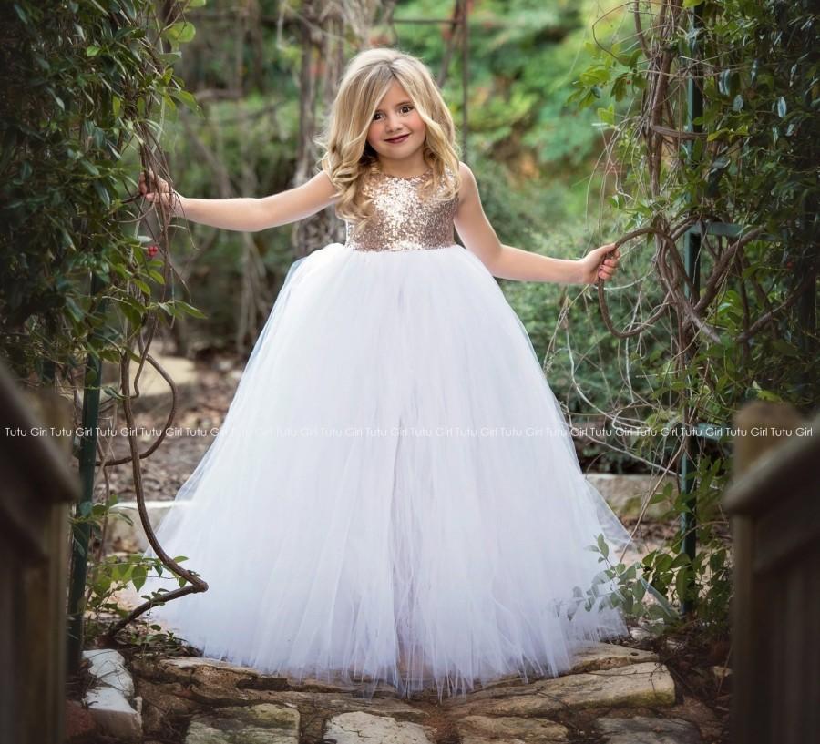 Свадьба - Rose Gold Flower Girl Dress, Rose Gold Sequin Sleeveless Tutu Dress, Blush Gold Tulle Dress, Rose Gold Flower Girl Tutu Dress