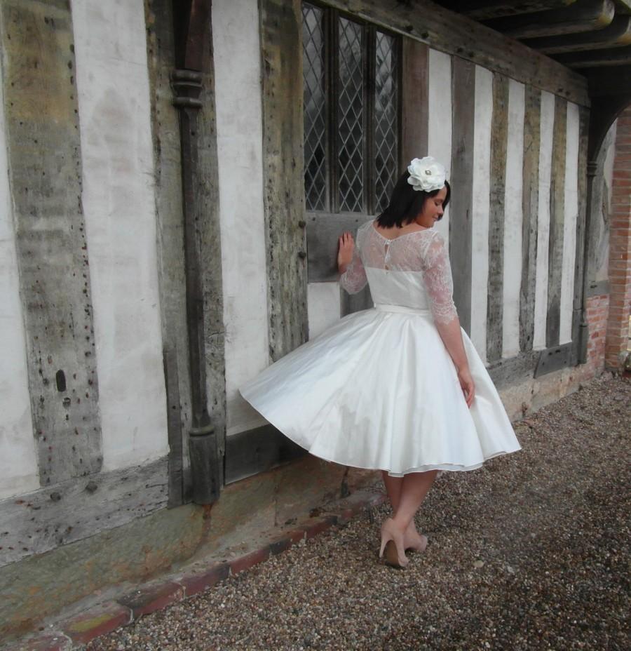 Wedding - The Kelly Silk and Chantilly lace tea length wedding dress