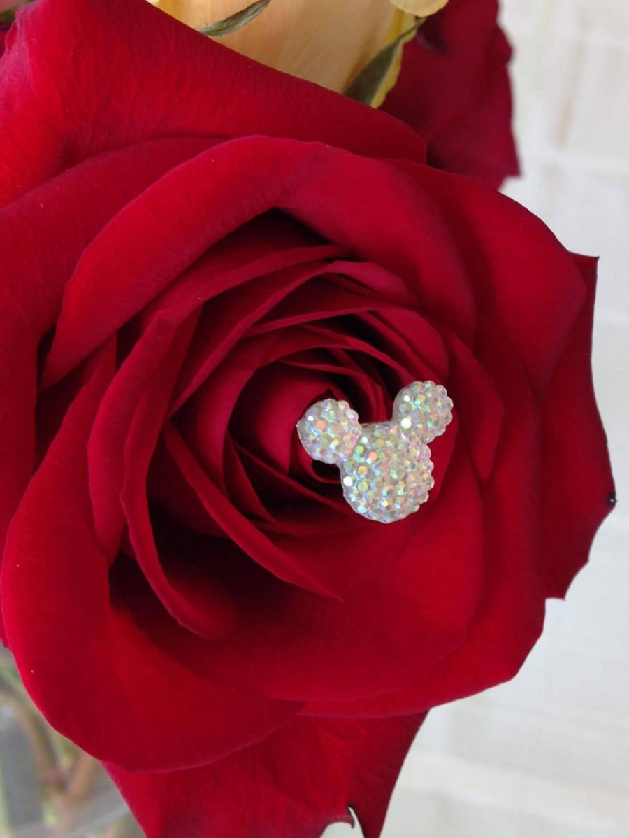Свадьба - FREE SHIP 12 Disney Wedding Hidden Mickey Mouse Ears Bouquet Themed Wedding Flower Picks Floral Pins Flower Posts Clear AB Bridal Flowers