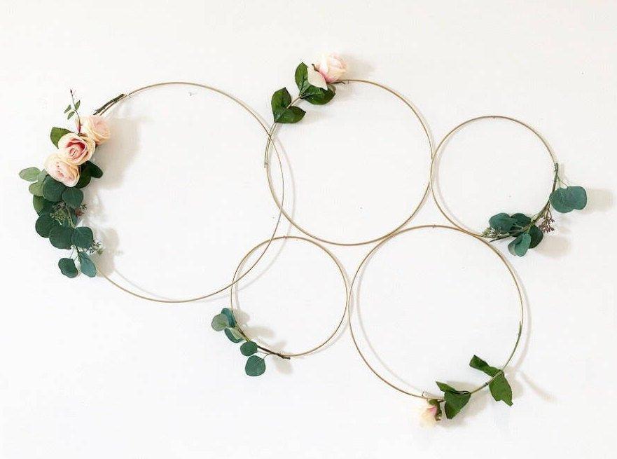 Wedding - Hoop Wreath, Wedding hoop, brides maid bouquet alternative, wedding backdrop, Macrame hoop