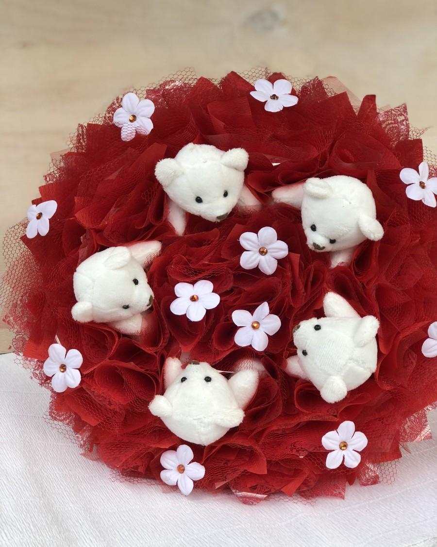 Wedding - Bouquet toys red Bouquet of teddy bears Gift for girl Valentine's Day Bouquet charm Bouquet weddingWedding bouquet of plush toys