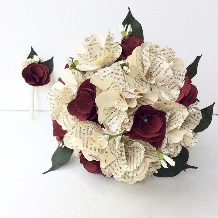 Wedding - Book Bouquet, Paper Bouquet, Custom Book Bouquet, Wedding Bouquet Burgundy, Book Flowers, Paper Roses (ITEM: TPG55H)