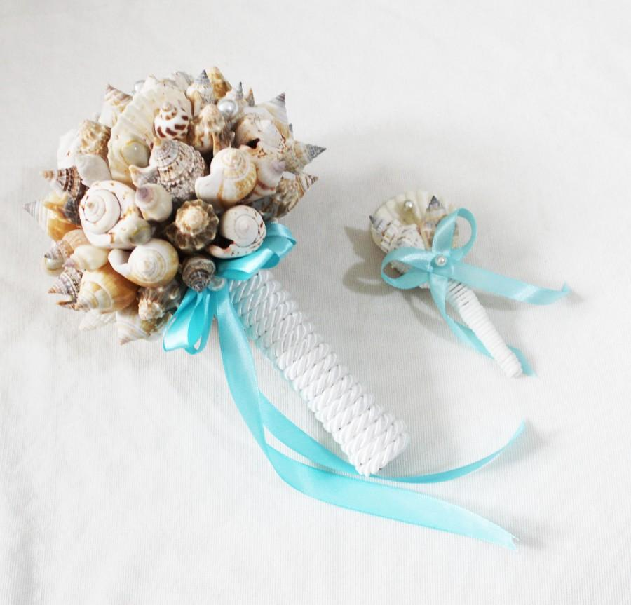 Свадьба - Shell Bouquet + Boutonniere , Bridal Bouquet Sea, Bridesmaid Bouquet, Beach Wedding, Clamshells Bouquet, Starfish