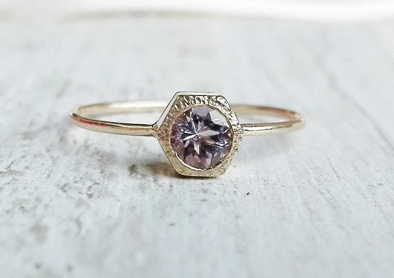 Wedding - Rose Gold Morganite Ring With Secret Heart,Unique Wedding Ring, Hexagon Engagement, Non Diamond Engagement Ring