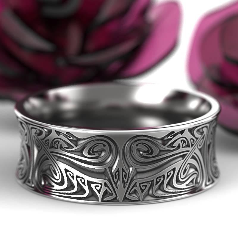 Wedding - Engraved Norse Wedding Ring With Dramatic Design in Sterling Silver, Made in Your Size CR-5088