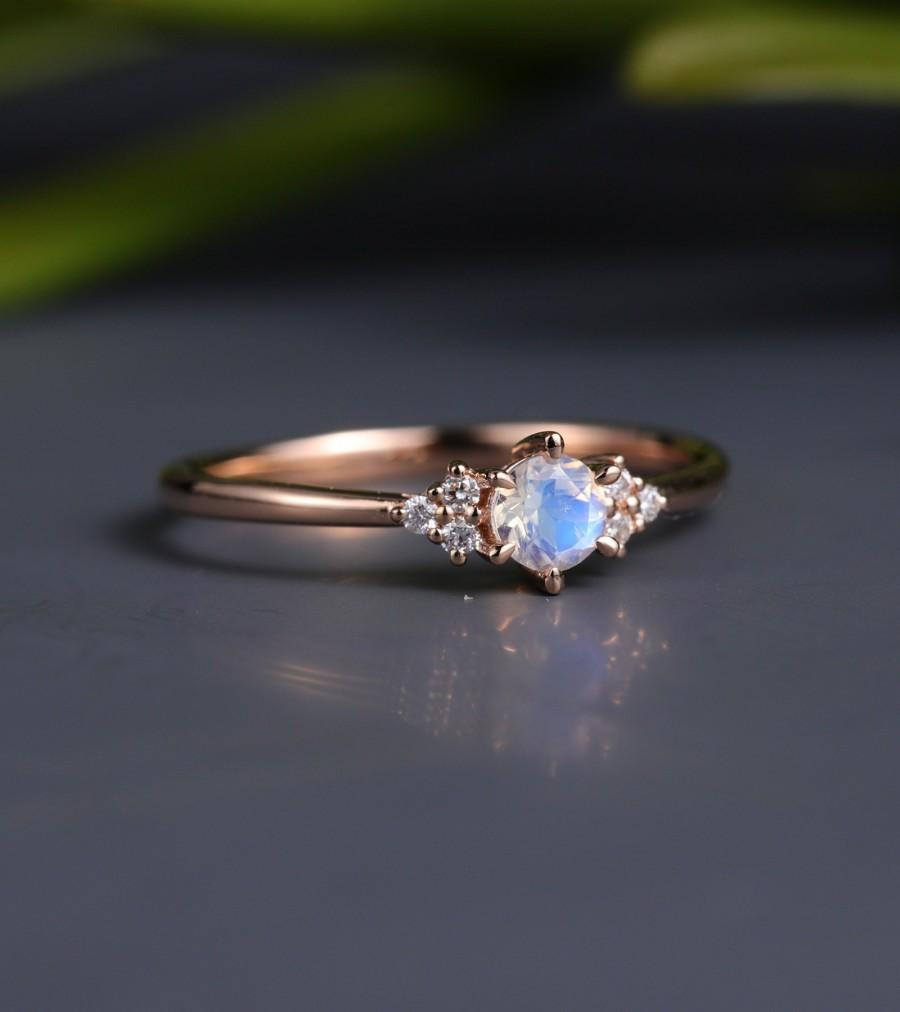 Wedding - Moonstone engagement ring Vintage diamond women rose gold  brida jewelryl unique art deco antique gift for her anniversary moonstone ring