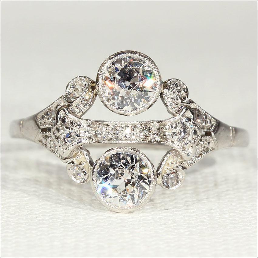 Wedding - Superb Vintage Art Deco Diamond and Platinum Ring, 1.15ctw