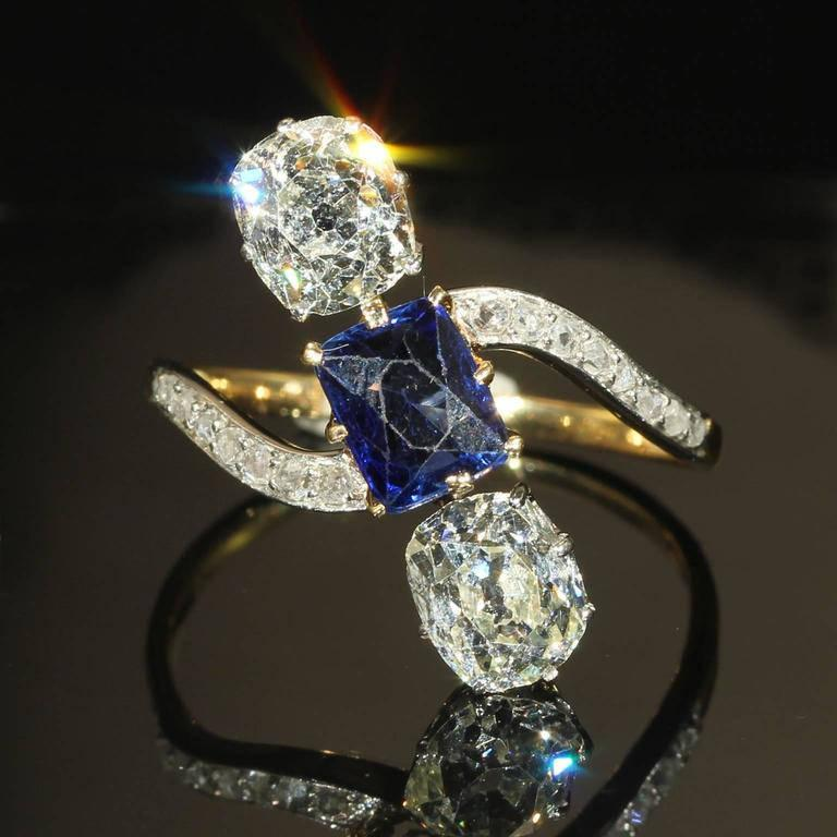 Wedding - French Edwardian Diamond Sapphire Ring