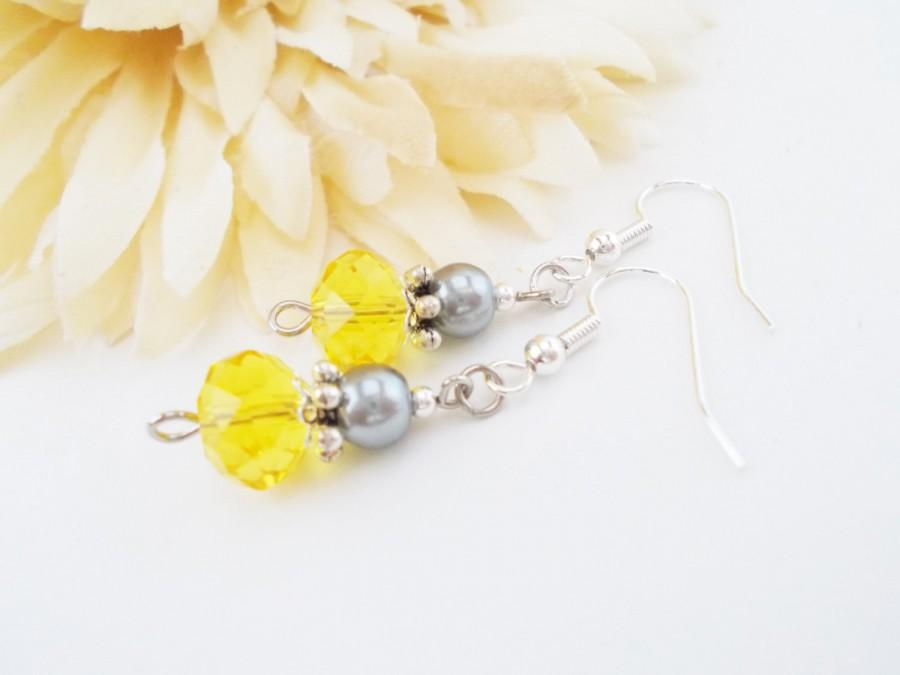 Wedding - Yellow Earrings Dangle Clip On Earrings, Bridesmaids Gift for Women, Boho Bridal Jewelry Wedding Earrings Handmade, Bridal Party Jewelry
