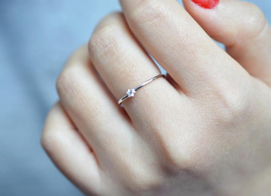 Wedding - White Gold Engagement Ring 18k Solitaire Engagement Ring 14k Diamond Ring Platinum Dimond Ring 18k White Gold Stacking Diamond Ring 14k Gold
