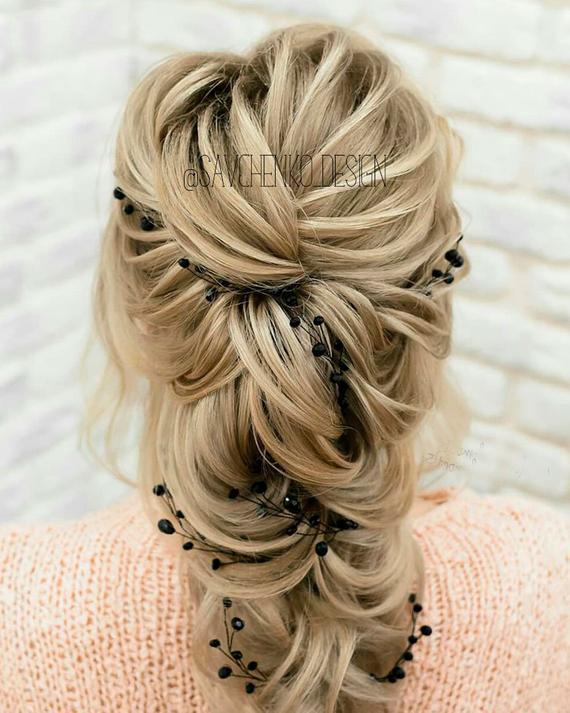 Свадьба - Black Bridal hair vine wedding hair accessories Bridesmaid gift