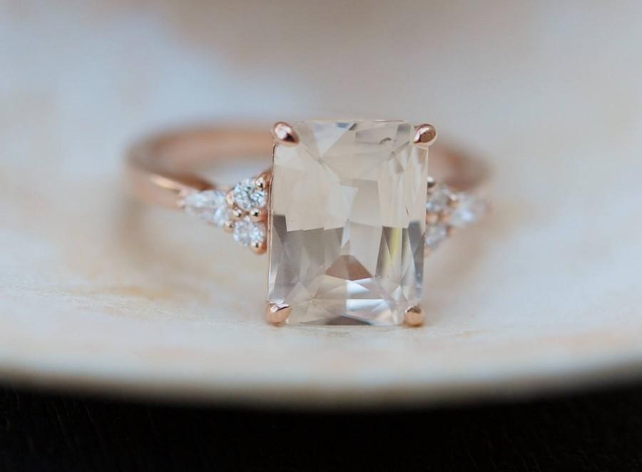 Wedding - Engagement Ring Rose gold engagement ring Champagne Sapphire ring Campari ring emerald cut Rose gold diamond ring 3.5ct