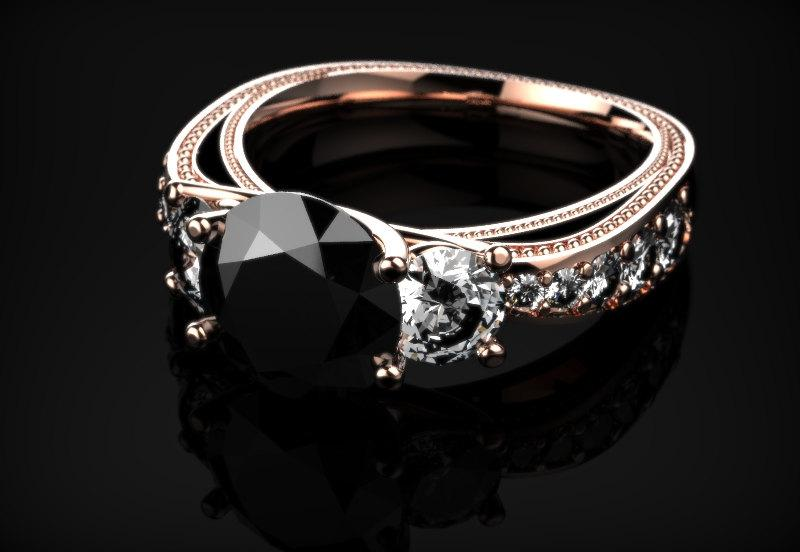 Wedding - Genuine Black Diamond Infinity Rose Gold Engagement Ring Black Diamond Engagement Ring Genuine Black Ring Gemstone Ring Black Gemstone