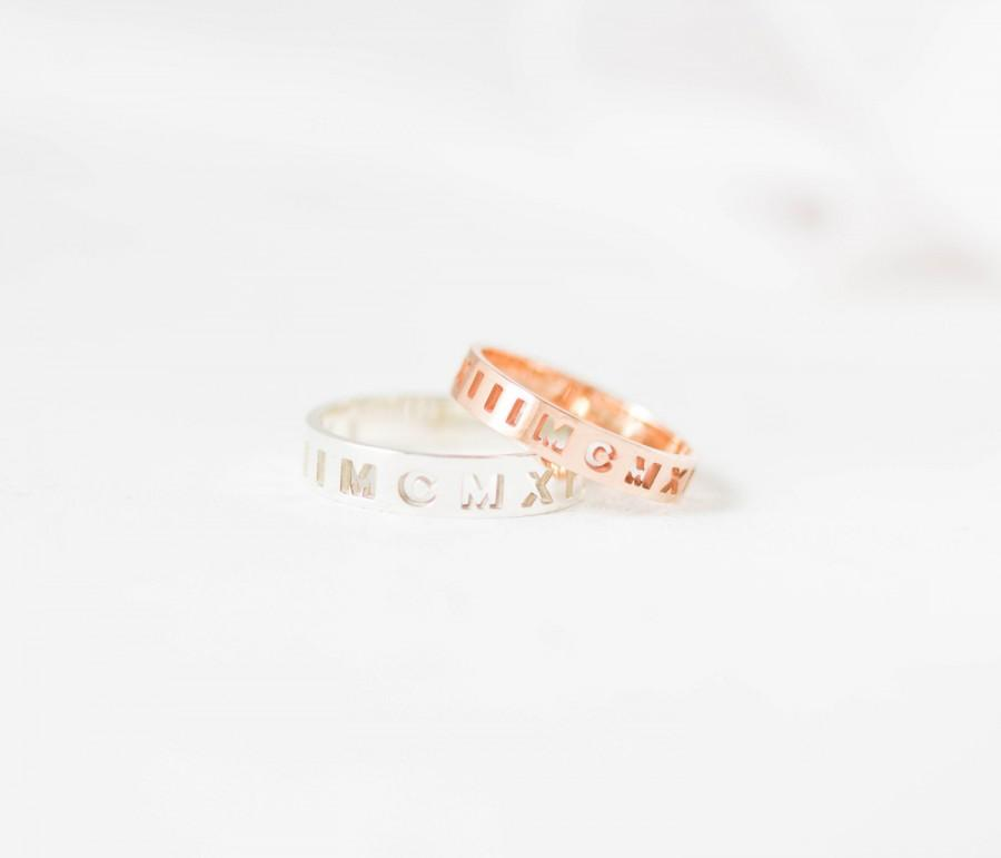 Mariage - Skinny Roman Numeral Band - Stacking Ring - Custom Roman Numerals Ring - Wedding Band - Wedding Date Ring - CHRISTMAS GIFTS