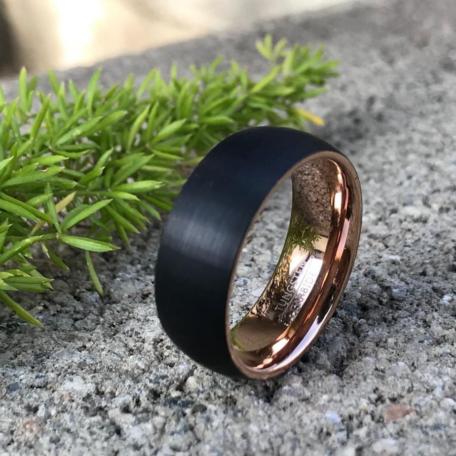 Wedding - 8mm Tungsten Wedding Band, Two Tone Black and Rose Gold Tungsten Ring Personalized Tungsten Ring Comfort Fit Ring CQTCR653