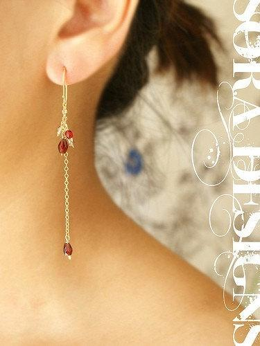 Wedding - Bridal jewelry, garnet drop earrings, ruby crimson champagne drop earrings, long dangle chain bridal earrings