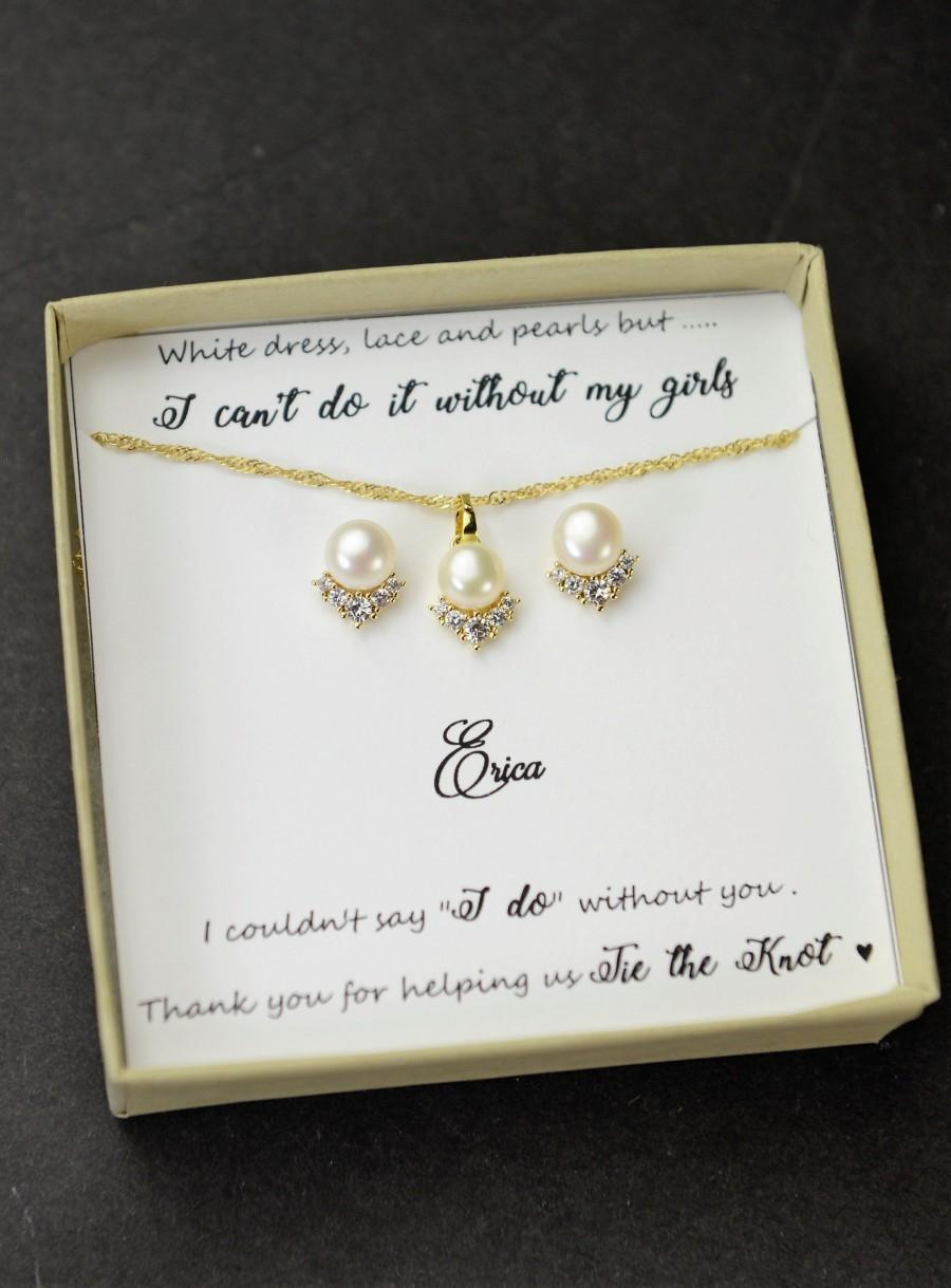 Wedding - Gold Real pearl Earrings necklace fresh water pearl bridesmaid necklace silver rose gold bridesmaid jewelry set  4 5 6 7 8 bridesmaid gifts