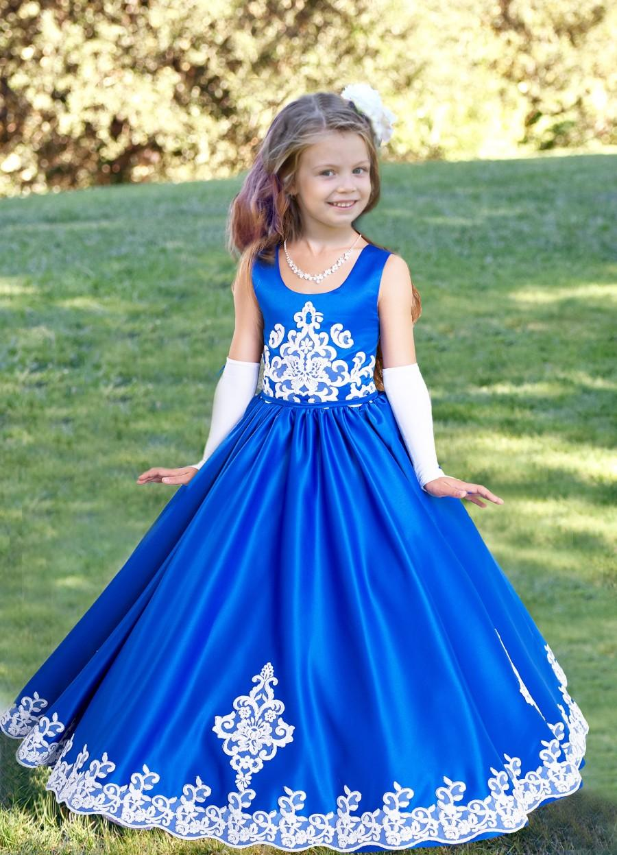 Wedding - Blue Flower Girl Dress Royal Blue Wedding Applique Dress Vintage Dress Long Dress Girls Party Dress Bridesmaid Dress Princess Party A line