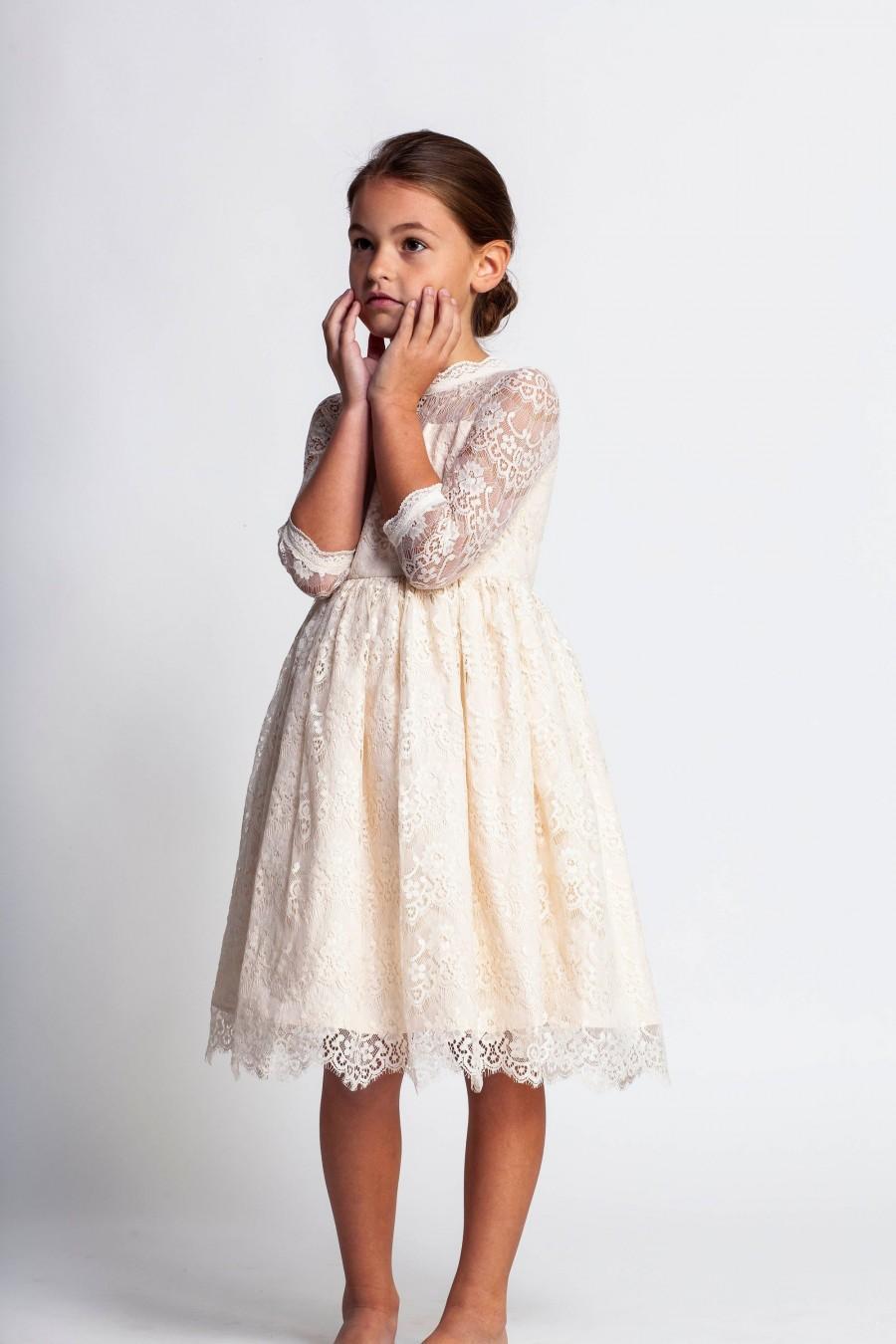 Wedding - Cream flower girl dress,ivory lace dress,junior bridesmaid dress,formal girls dress,Easter dresses,toddler girls dress,first communion dress