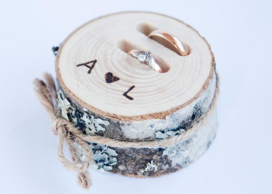 Mariage - Rustic ring bearer pillow,  wedding wood slice, rustic ring box, wedding decoration, wood wedding decor, ring pillow alternative,