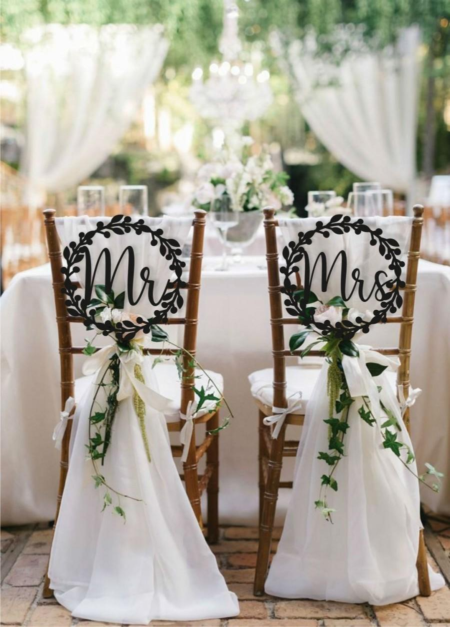 Mariage - Wedding Chair Signs Decoration Mr and Mrs Chair Signs Set  Wooden signs Wedding Sign Mr and Mrs Sign Bride Groom Signs
