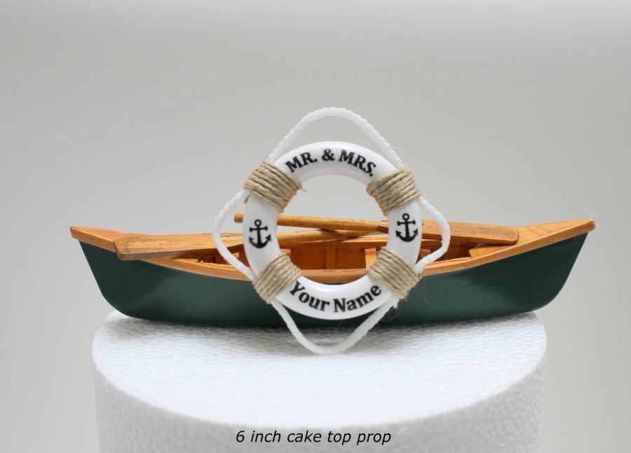 Mariage - Canoe Wedding Cake Topper, Canoe Wedding, Rustic Wedding Cake Topper, Fishing Cake Topper, Boat Cake Topper, Mr & Mrs Cake Topper,Life Ring