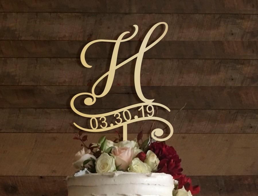 Mariage - h cake topper, wedding cake topper, cake toppers for wedding, rustic cake topper, initial cake topper, monogram cake, cake topper h, #016