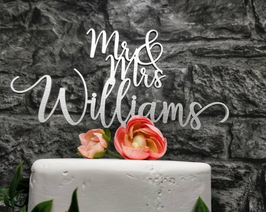 Mariage - Rustic Wedding Cake topper,  Personalized Wedding Cake topper, Mr & Mrs Surname Cake Topper, Wedding Cake