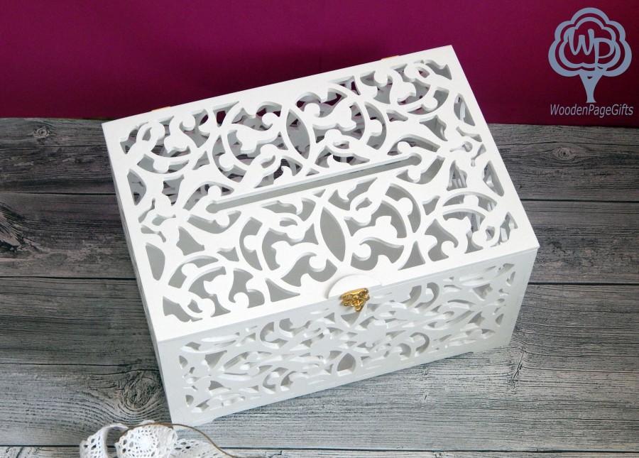 Mariage - Wedding card box with slot Card box for wedding Wedding Gift Card Box Wooden Money Box Wedding Keepsake Box Wedding card holder