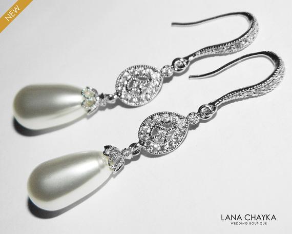 Hochzeit - White Teardrop Pearl Chandelier Earrings, Swarovski Pearl Dangle Wedding Earrings, Pearl Wedding Earrings, White Pearl Silver CZ Earrings