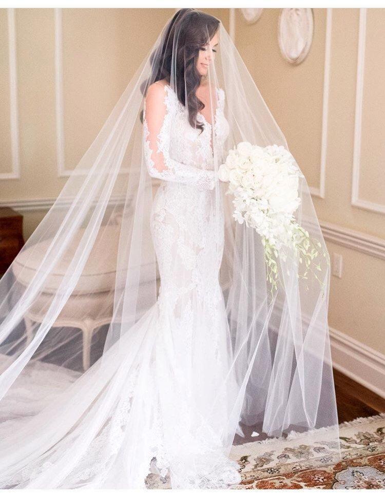 Wedding - Long Blusher Sheer Drop Wedding Veil (Cathedral Veil, Illusion Veil, Drape Veil, Long Veil, Kim Kardashian veil, Meghan Markle veil)